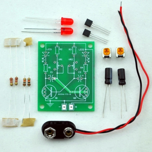 ELECTRONICS-SALON Adjustable Transistor Astable Multivibrator Circuit Learn Kit, LED Flashing, Practical Soldering Project Kit.