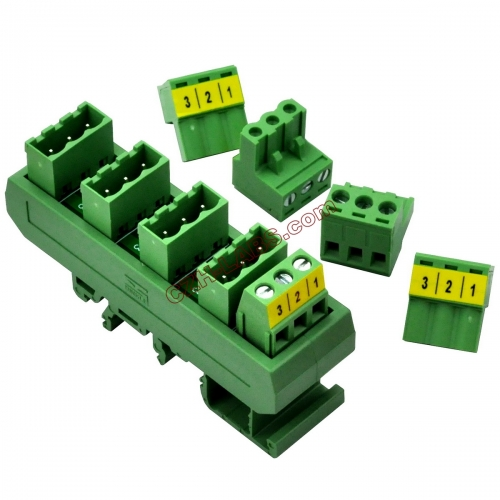 Slim DIN Rail Mount 10A/300V 5x3 Position Pluggable Screw Terminal Block Distribution Module.