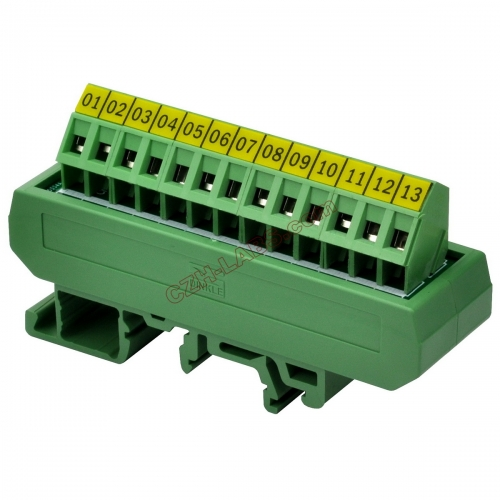 Slim DIN Rail Mount 16A/300V 1x13 Position Screw Terminal Block Distribution Module.