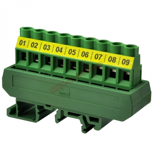 Slim DIN Rail Mount 30A/300V 1x9 Position Screw Terminal Block Distribution Module.