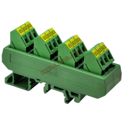 Slim DIN Rail Mount 16A/300V 4x3 Position Screw Terminal Block Distribution Module.