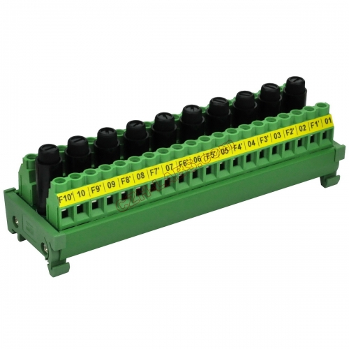 CZH-LABS DIN Rail Mount 20 Position Screw Terminal Block Distribution Module with 10 Channel Fuses