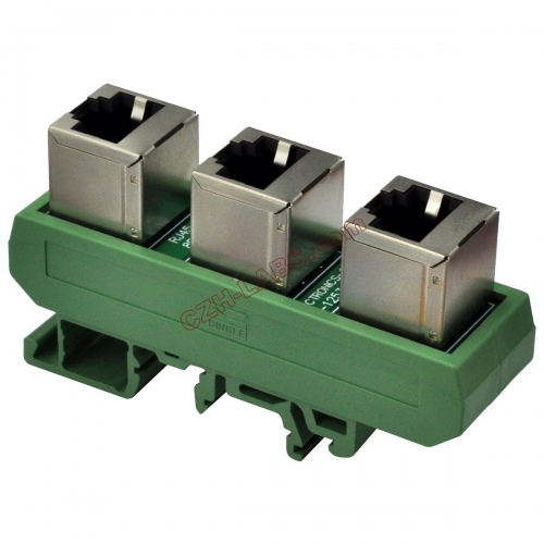 Slim DIN Rail Mount RJ45 8P8C 3 Jacks Splitter Buss Board Interface Module.