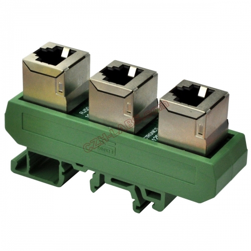 Slim DIN Rail Mount RJ50 10P10C 3 Jacks Splitter Buss Board Interface Module.