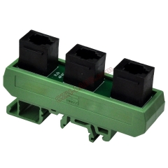 Slim DIN Rail Mount RJ9 4P4C 3 Jacks Splitter Buss Board Interface Module.