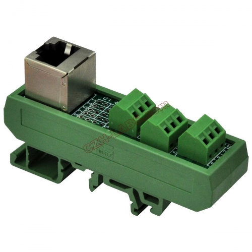 Slim DIN Rail Mount RJ45 8P8C Breakout Board Interface Module.
