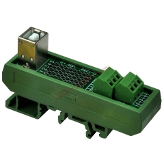 Slim DIN Rail Mount USB Type B Female Vertical Jack Breakout Board Interface Module.