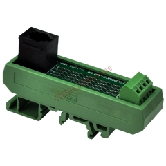 Slim DIN Rail Mount RJ9 4P4C Breakout Board Interface Module.