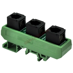 Slim DIN Rail Mount RJ11/RJ12 6P6C 3 Jacks Splitter Buss Board Interface Module.