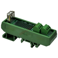 Slim DIN Rail Mount USB Type A Female Vertical Jack Breakout Board Interface Module.