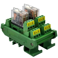 DIN Rail Mount AC/DC 5V Control 2 DPDT 5Amp Pluggable Power Relay Interface Module.