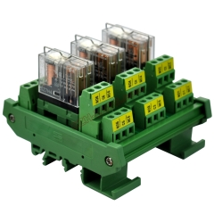 DIN Rail Mount AC/DC 12V Control 3 DPDT 5Amp Pluggable Power Relay Interface Module.
