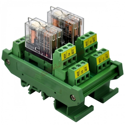DIN Rail Mount AC/DC 12V Control 2 DPDT 5Amp Pluggable Power Relay Interface Module.
