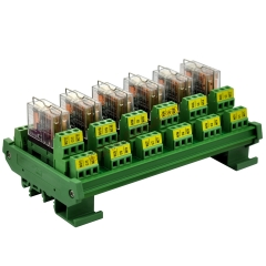 DIN Rail Mount AC/DC 24V Control 6 DPDT 5Amp Pluggable Power Relay Interface Module.