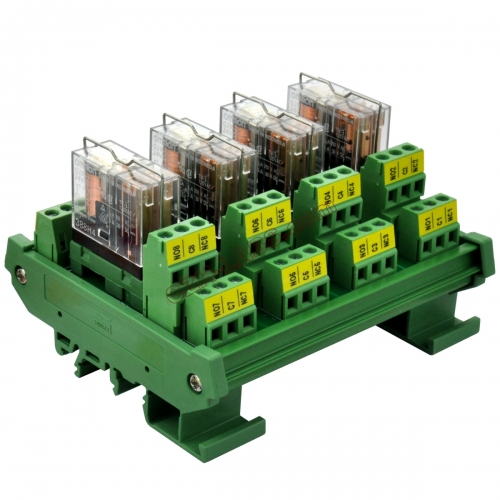 DIN Rail Mount AC/DC 24V Control 4 DPDT 5Amp Pluggable Power Relay Interface Module.