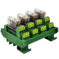 DIN Rail Mount AC/DC 12V Control 4 DPDT 5Amp Pluggable Power Relay Interface Module.