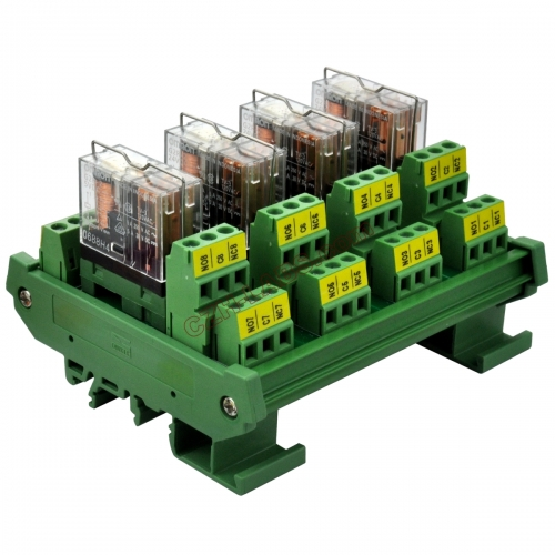 DIN Rail Mount AC/DC 5V Control 4 DPDT 5Amp Pluggable Power Relay Interface Module.