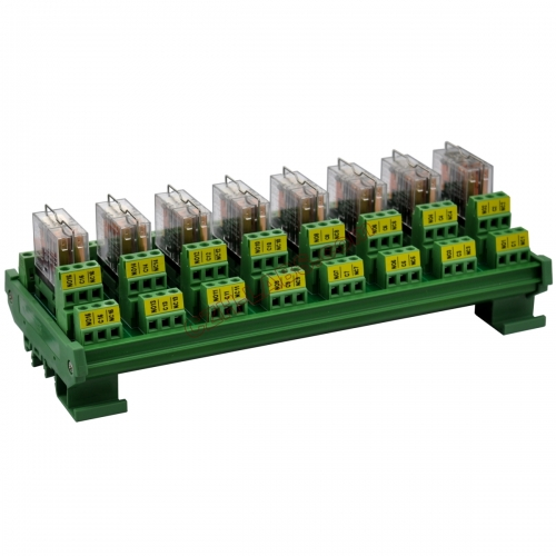 DIN Rail Mount AC/DC 5V Control 8 DPDT 5Amp Pluggable Power Relay Interface Module.