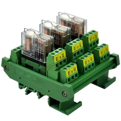 DIN Rail Mount AC/DC 5V Control 3 DPDT 5Amp Pluggable Power Relay Interface Module.