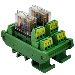 DIN Rail Mount AC/DC 24V Control 2 DPDT 5Amp Pluggable Power Relay Interface Module.