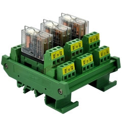 DIN Rail Mount AC/DC 24V Control 3 DPDT 5Amp Pluggable Power Relay Interface Module.
