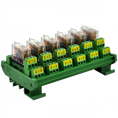 DIN Rail Mount AC/DC 5V Control 6 DPDT 5Amp Pluggable Power Relay Interface Module.