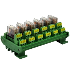 DIN Rail Mount AC/DC 12V Control 6 DPDT 5Amp Pluggable Power Relay Interface Module.