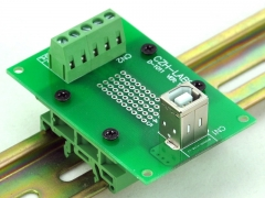CZH-LABS USB Type B Female Vertical Jack Breakout Board, w/Simple DIN Rail Mount Feet.