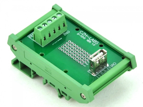 CZH-LABS DIN Rail Mount USB Type A Female Vertical Jack Module Board.