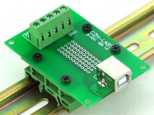 CZH-LABS USB Type B Female Right Angle Jack Breakout Board, w/Simple DIN Rail Mount Feet.