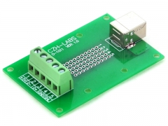 CZH-LABS USB Type B Female Right Angle Jack Breakout Board, Terminal Block Connector.