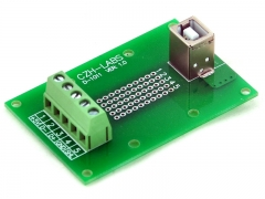 CZH-LABS USB Type B Female Vertical Jack Breakout Board, Terminal Block Connector.