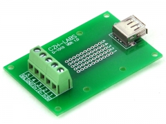 CZH-LABS USB Type A Female Right Angle Jack Breakout Board, Terminal Block Connector.