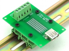 CZH-LABS USB Type A Female Right Angle Jack Breakout Board, w/Simple DIN Rail Mount Feet.