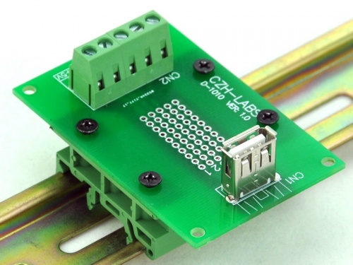 CZH-LABS USB Type A Female Vertical Jack Breakout Board, w/Simple DIN Rail Mount Feet.