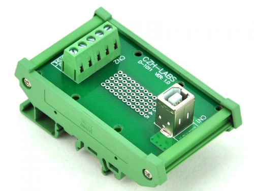 CZH-LABS DIN Rail Mount USB Type B Female Vertical Jack Module Board.