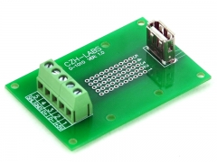 CZH-LABS USB Type A Female Vertical Jack Breakout Board, Terminal Block Connector.
