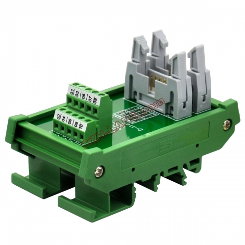 DIN Rail Mount Dual IDC10 Pitch 2.54mm Male Header Interface Module Breakout Board.