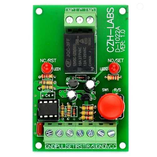 Panel Mount Momentary-Switch/Pulse-Signal Control Latching SPDT Relay Module,12V.