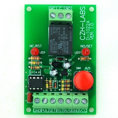 Panel Mount Momentary-Switch/Pulse-Signal Control Latching SPDT Relay Module,24V.