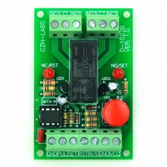 Panel Mount Momentary-Switch/Pulse-Signal Control Latching DPDT Relay Module,24V.
