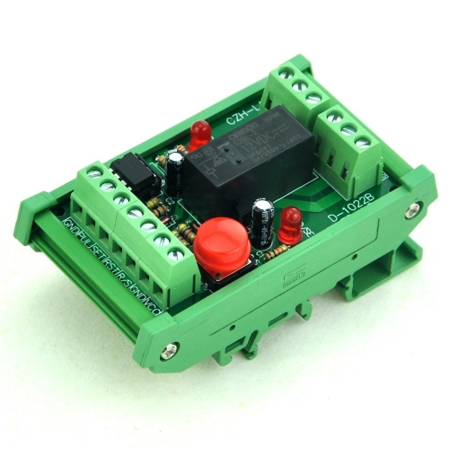 DIN Rail Momentary-Switch/Pulse-Signal Control Latching DPDT Relay Module, 12V.