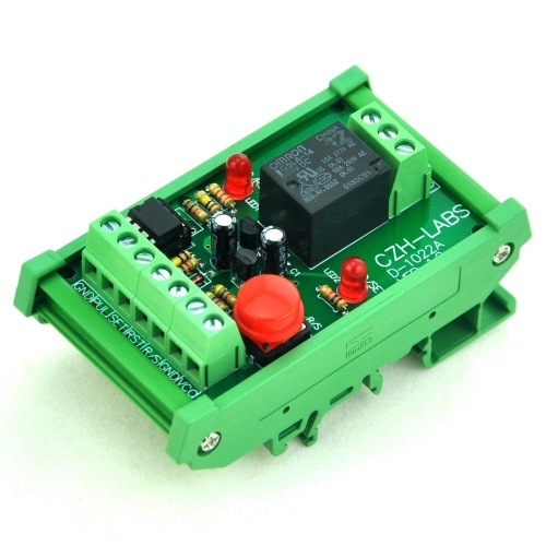 DIN Rail Momentary-Switch/Pulse-Signal Control Latching SPDT Relay Module, 5V.