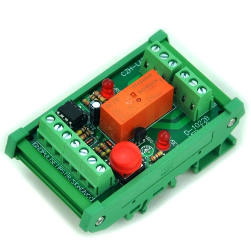 DIN Rail Momentary-Switch/Pulse-Signal Control Latching DPDT Relay Module, 5V.