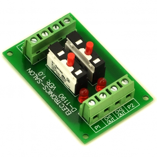Panel Mount 2 Channel Thermal Circuit Breaker Module, with 2 Direct Connection Terminal.