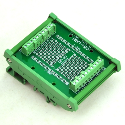 DIP-20 Component to Screw Terminal Adapter Board, w/HQ DIN Rail Mount Carrier.