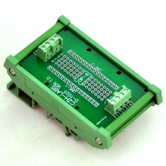 DIP-8 Component to Screw Terminal Adapter Board, w/HQ DIN Rail Mount Carrier.