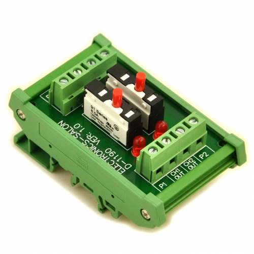 DIN Rail Mount 2 Channel Thermal Circuit Breaker Module, with 2 Direct Connection Terminal.