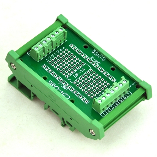 DIP-14 Component to Screw Terminal Adapter Board, w/HQ DIN Rail Mount Carrier.