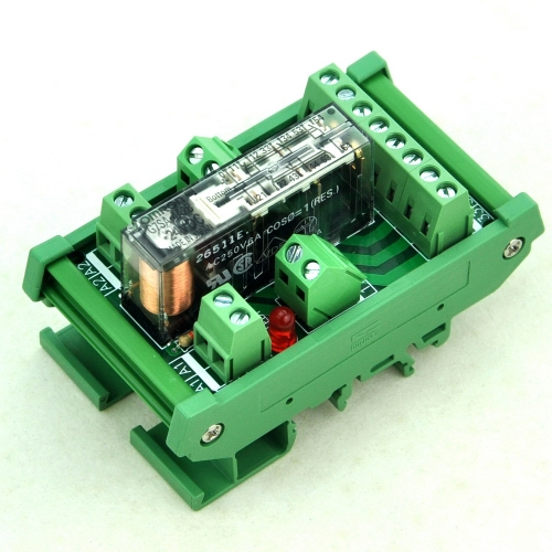 DIN Rail Mount Safety Relay Module, 24V AC/DC, G7SA-4A2B, 4PST-NO DPST-NC.